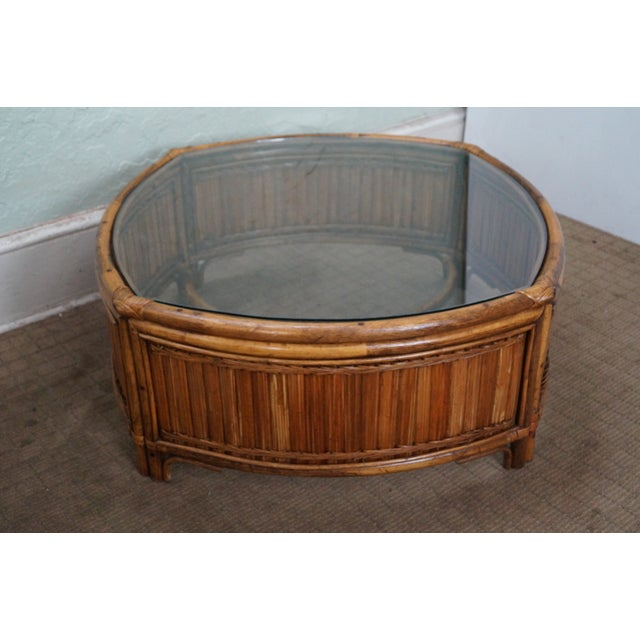 Vintage Bamboo Rattan Glass Top Coffee Table - Image 2 of 7