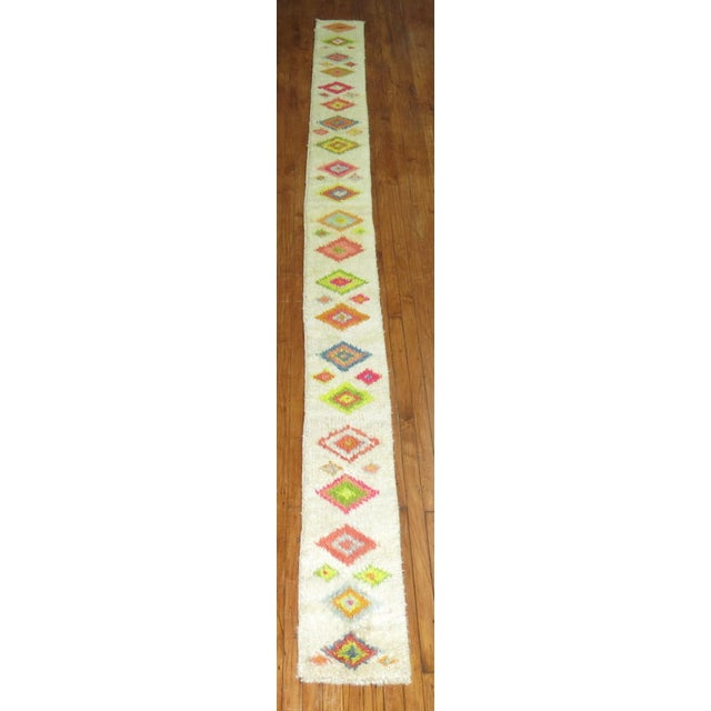 Vintage Moroccan Runner Fragment - 1'1'' x 15'5'' - Image 3 of 6