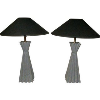 Pair of Black and White Zig-Zag Pattern Pyramid Shape Lamps, Contemporary