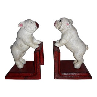 Pair Of Rustic Cast Iron Painted Bull Dog Bookends