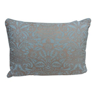 Aquamarine & Silver Fortuny Textile Pillows - A Pair