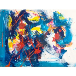 Vintage Blue and Red Abstract Painting