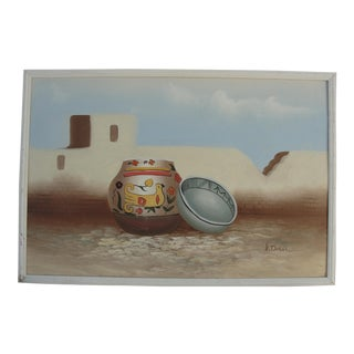 K. Dossi Southwest Pottery Oil on Board Painting