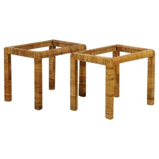 Stylish Pair of Vintage Rattan Parsons End Tables