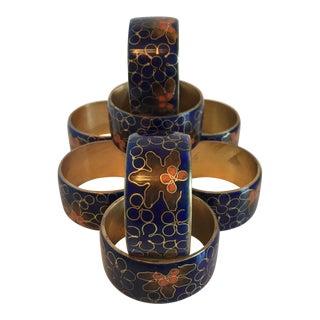 Blue Cloisonné Napkin Rings - Set of 8