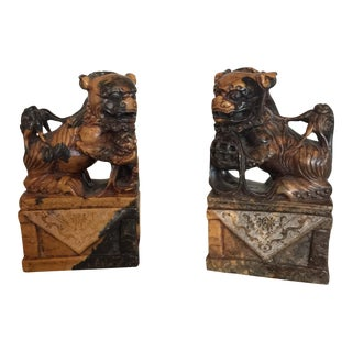 Vintage Marble Chinese Foo Dogs - A Pair