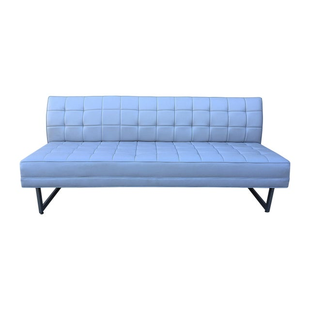 Modern Vinyl Chrome Legs Sofa - Image 1 of 10