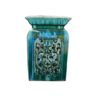 Chinese Ceramic Square RuYi Garden Stand Table