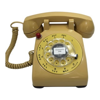 Yellow 500 Rotary Dial Desk Phone With Light