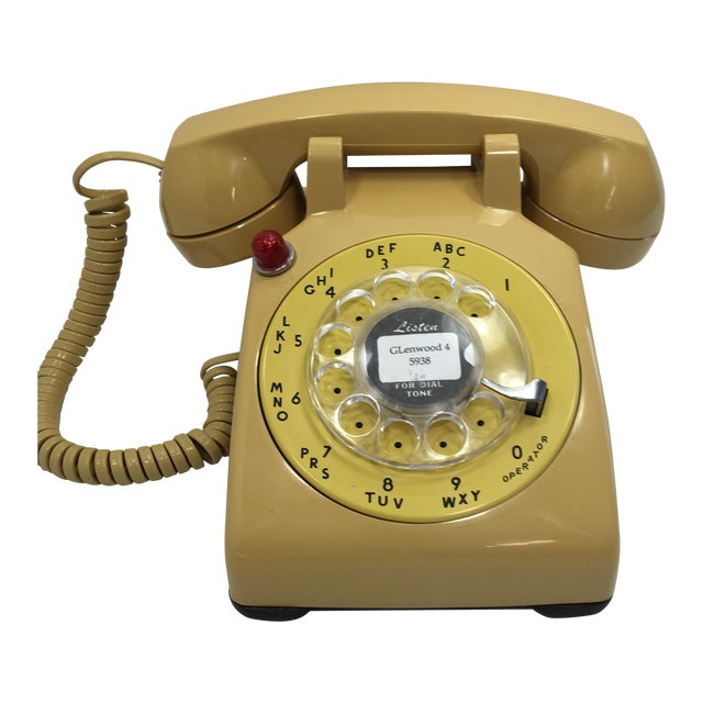 Yellow 500 Rotary Dial Desk Phone With Light - Image 1 of 11