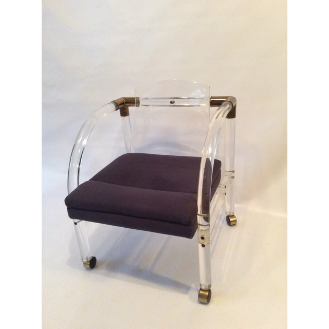 Image of Mid-Century Lucite & Brass Lounge Chair