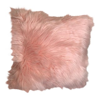 Hollywood Regency Pink Faux Fur Pillow