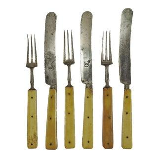 1860's Small Bone Handled Flatware - Set of 6