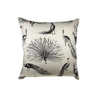 Linen & Silk Velvet Peacock Pillow Cover