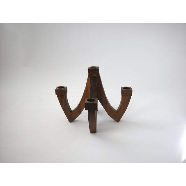 Mid-Century Wood Candle Holder - Image 4 of 9