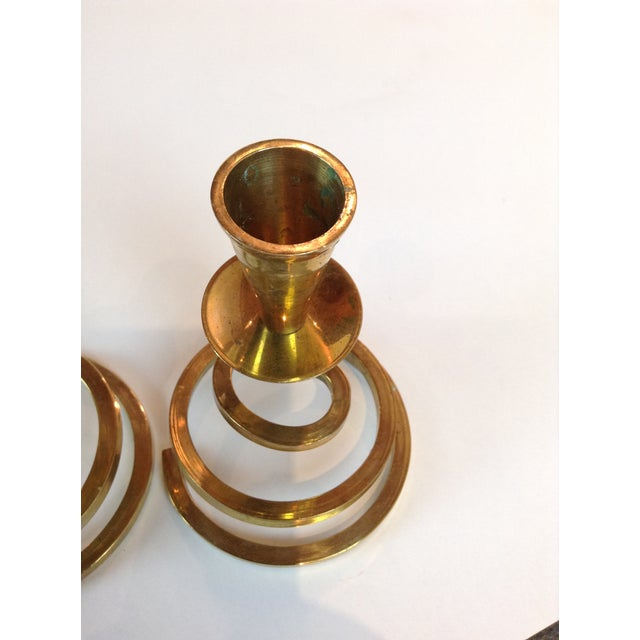 Brass Coil Candlesticks - A Pair - Image 3 of 6