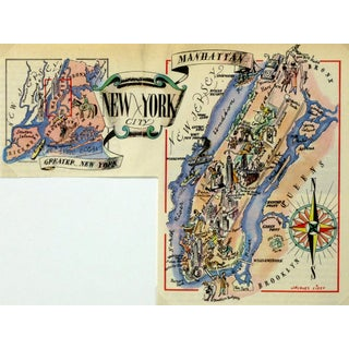 Vintage New York City Pictorial Map, 1946