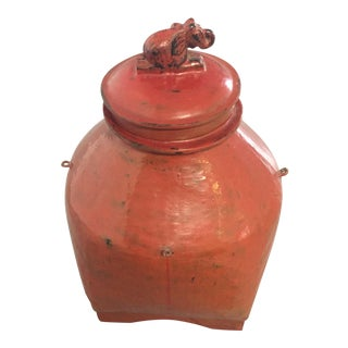 Antique Elephant Motif Food Container