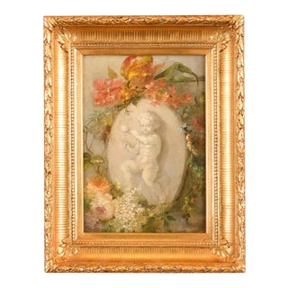 19th Century Playful Putti & Flowers Still Life Oil Painting