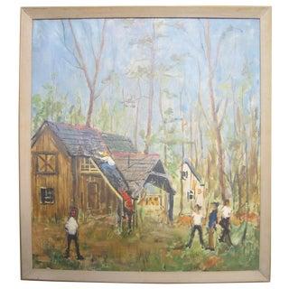 Barn Builders Folk Art Oil Painting