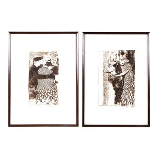 Ann Chernow Signed and Framed Etchings - a Pair