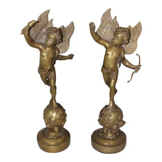 Vintage Brass Angel Cherub Statues – A Pair