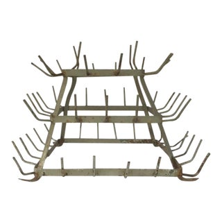 Vintage French Zinc Herisson Bottle Drying Rack