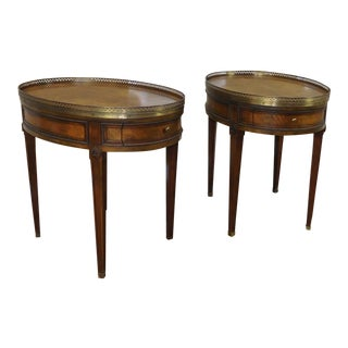 Baker Furniture Oval Walnut Gallery Tables - A Pair