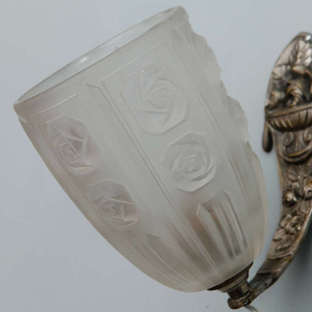 Image of French Art Deco Sconces W Molded Glass Shades-Pair