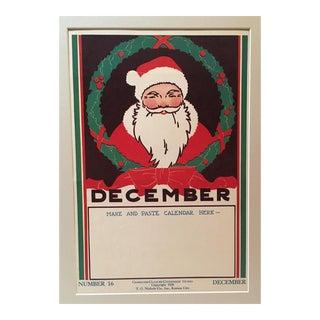 Vintage 1930's December Santa Calendar Classroom Poster