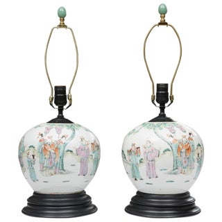 Pair of Antique Chinese Melon Jars as Table Lamps