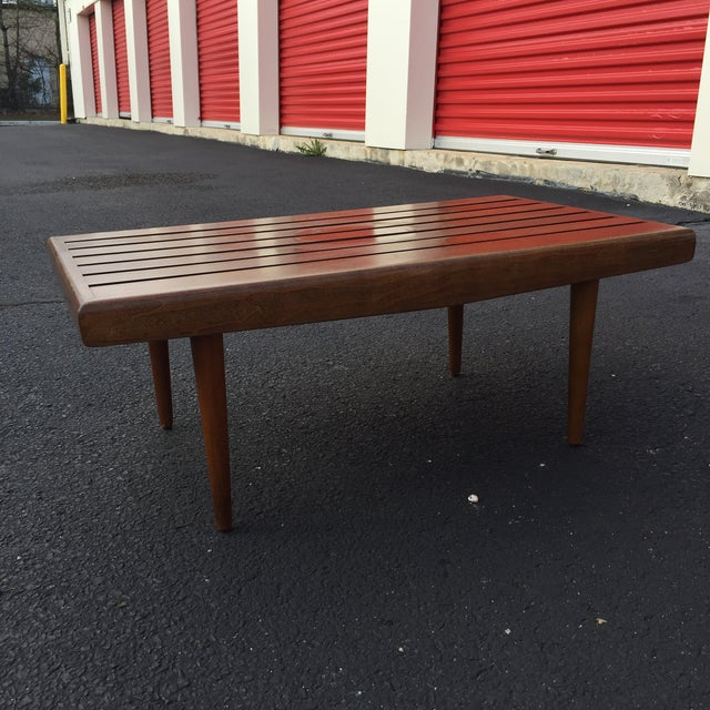Mid-century Walnut Slat Rectangular End Table - Image 4 of 7