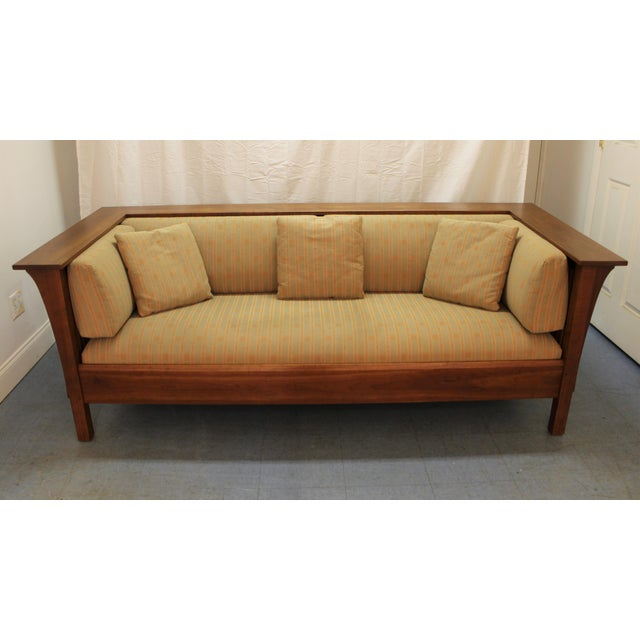 mission arts and crafts style stickley cherry spindle sofa. Black Bedroom Furniture Sets. Home Design Ideas