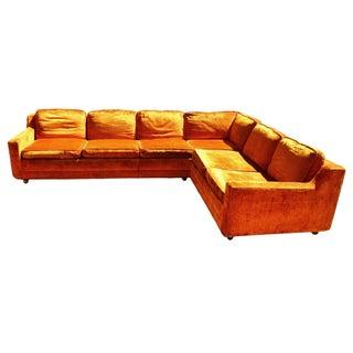 Mid-Century Orange Crushed Velvet Sectional Sofa