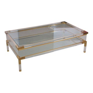 Large Lucite and Brass Vitrine Coffee Table by Charles Hollis Jones