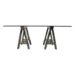 Vintage Chrome & Glass Sawhorse Desk