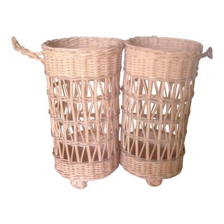 Vintage Wicker Double Wine Basket