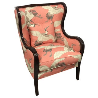 Pink Crane Patterned Wing Chair by Leathercraft