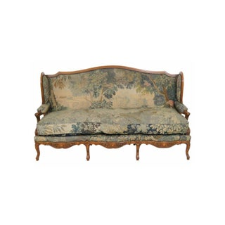 Antique French Carved Walnut Aubusson Sofa