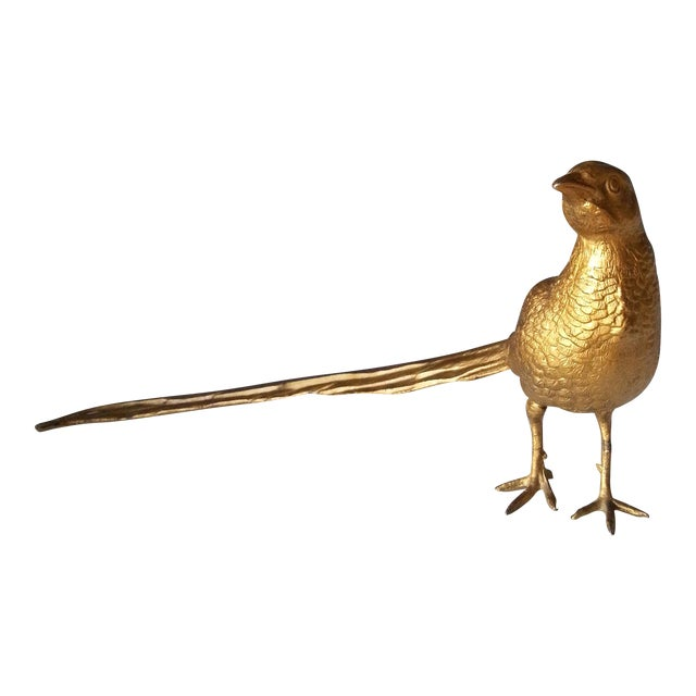 Image of Vintage Gold Toned Metal Pheasant Figurine
