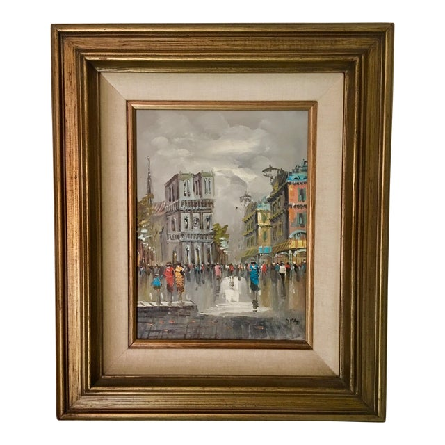 Mid-Century Impressionist Oil Painting Of A Town