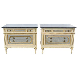 Slate & Mirrored Cream Commodes - A Pair