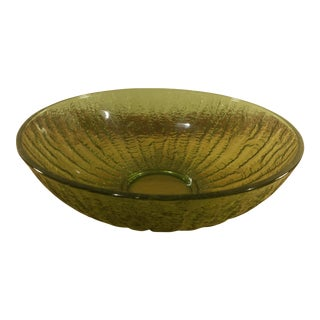 Green Glass Serving Bowl