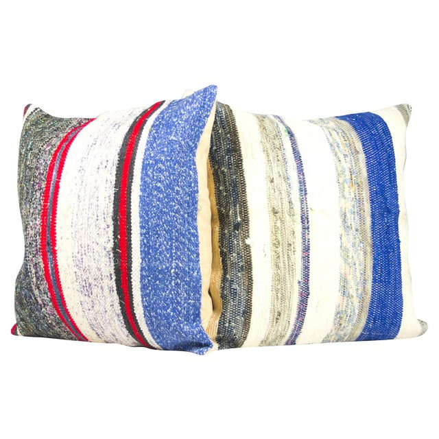 "Turkish Kilim 20"" Pillows - A Pair - Image 1 of 3"