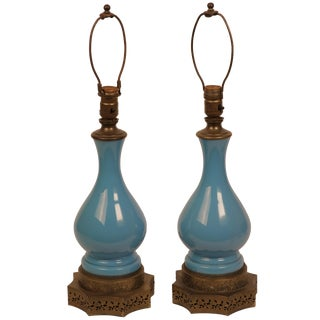 French Blue Opaline & Gilt Lamps - Pair