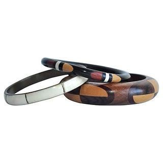 Wood, Bone & Brass Inlay Bracelets - Set of 3