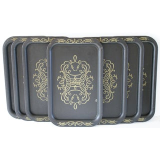 Vintage Black & Gold Metal Cocktail Trays - Set of 7