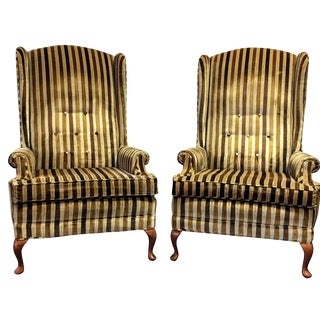 Mid-Century Tufted High-Back Wing Chairs - A Pair
