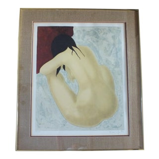 Alain Bonnefoit Seated Nude Lithograph, Framed