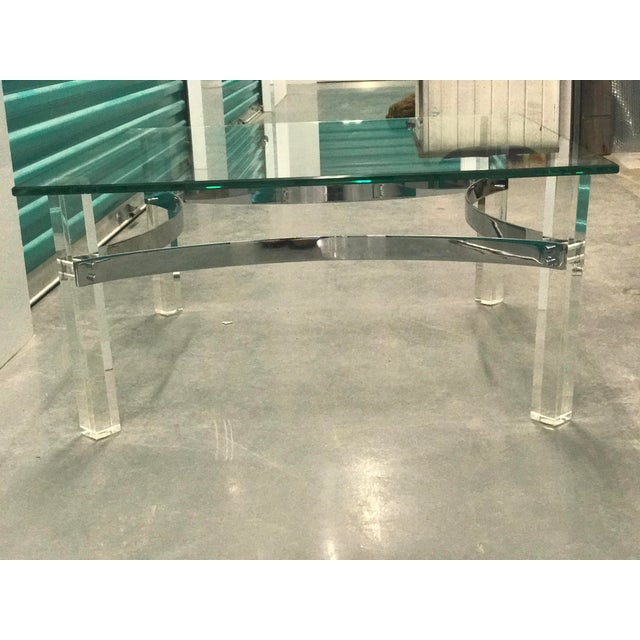 Mid-Century Lucite & Chrome Coffee Table - Image 2 of 6